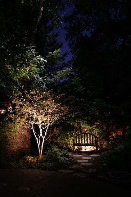 Lighting outdoor trees around the home makes for a dramatic and nice lighting on outdoor bench asian landscape by viewpoint lighting mozeypictures Image collections