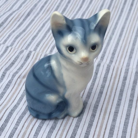 Vintage Japanese Ceramic Cat Figurine by EastSideModern on Etsy