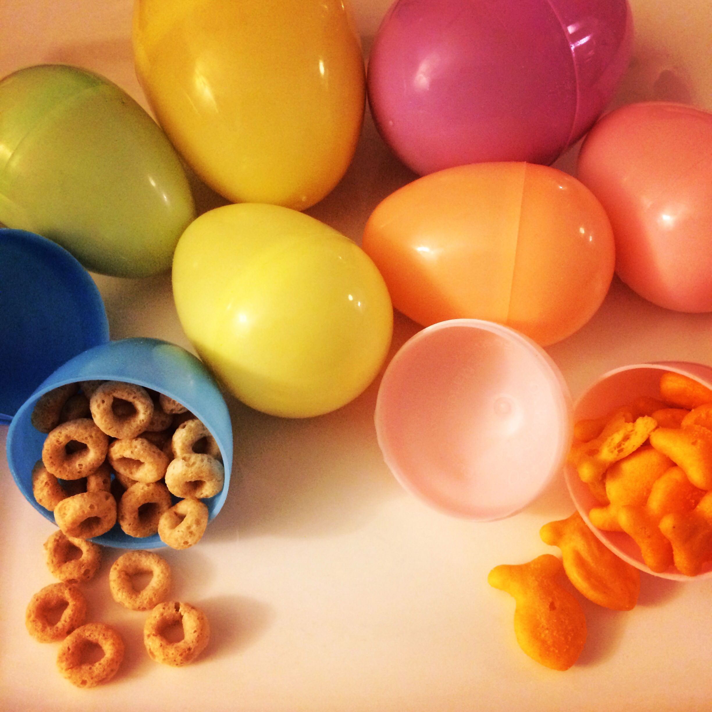 Easter eggs stuffed with Cheerios and Goldfish for my 17 month old. Great for babies!