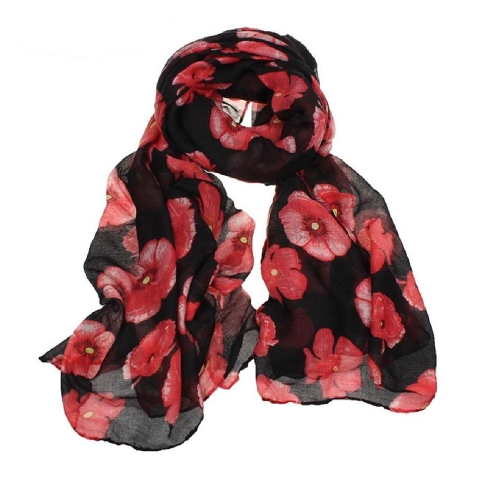 Polyester /& Cotton Red with Black Cats Scarf Shawl Wrap Ladies Womens Scarves