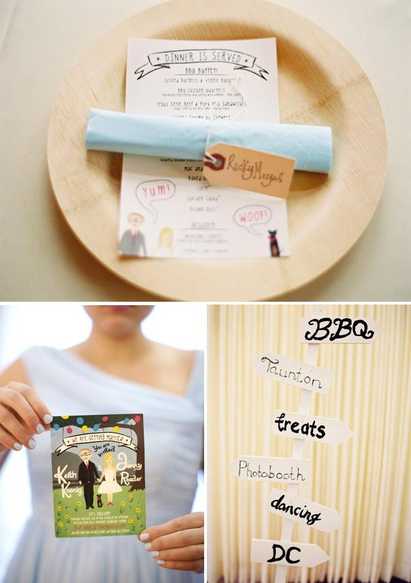Bamboo Plates Custom Hand Drawn Wedding Invitation And Painted Sign From Mountainsidebride