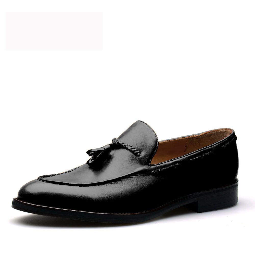Men's Slip On Tassel Penny Loafers Shoe- Genuine Leather - Black