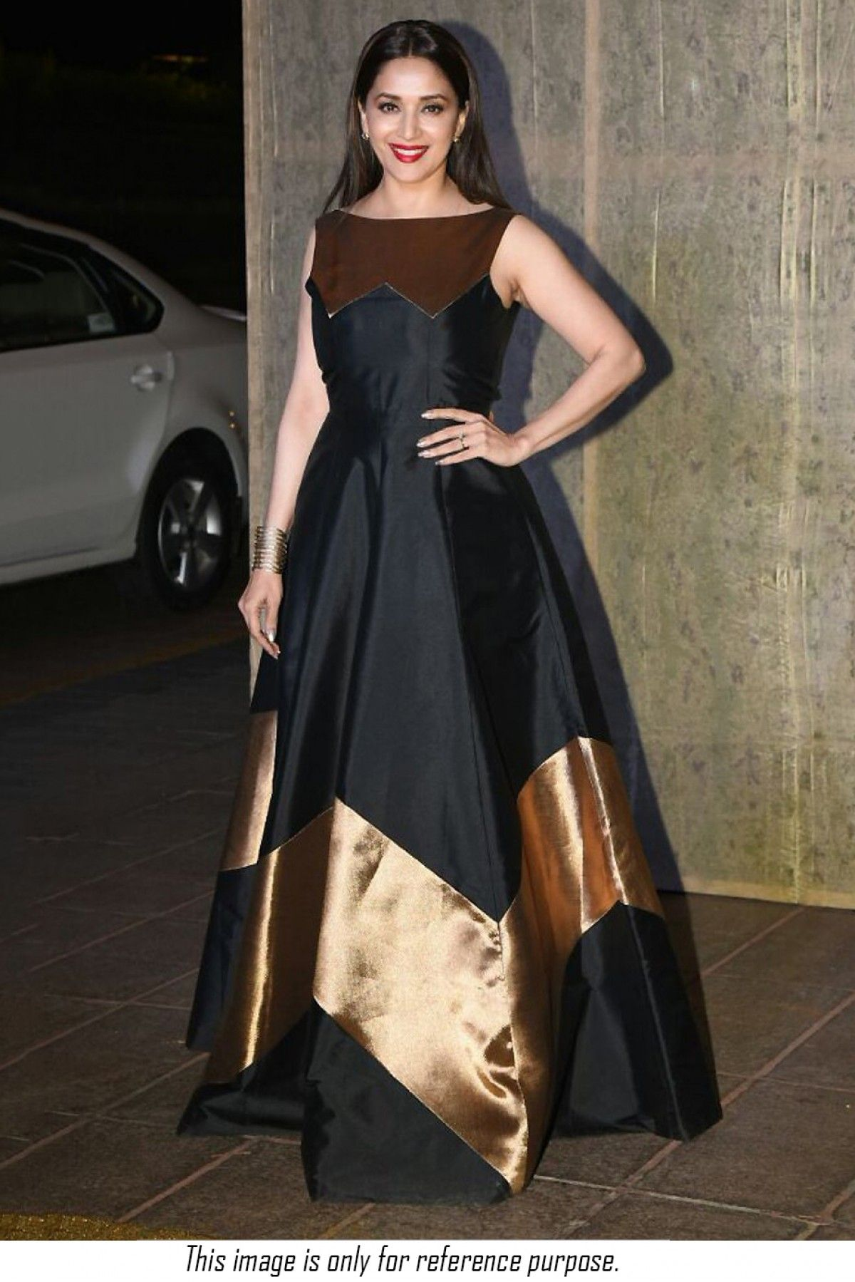 d0e73620a66 Buy Bollywood Madhuri Dixit Taffeta Silk Party Wear Gown In Black Colour  for women   ninecolours.com. Worldwide Free Shipping Available!