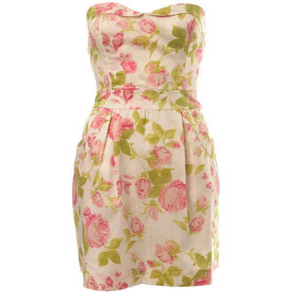Petites Rose Bandeau Dress ($51) ❤ liked on Polyvore featuring dresses, vestidos, floral, vestiti, women's clothing, flower print dress, petite cotton dresses, bow dress, miss selfridge dress and cotton floral dress