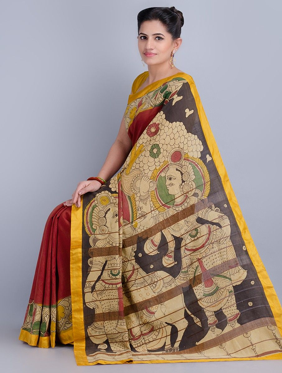 1b20590f0b24f1 Buy Red Yellow Multi Color Hand Painted Kalamkari Cotton Saree by Angikam Sarees  Printed Narratives Concept in Art Online at Jaypore.com