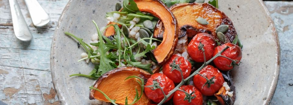 Roasted Vegetables with Basil and Rocket Salad