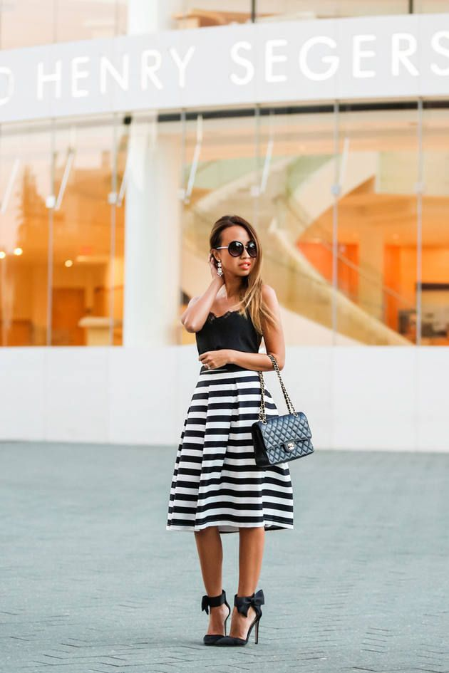 Black And White Striped A-line Midi Skirt # #Lace & Locks #Fall ...