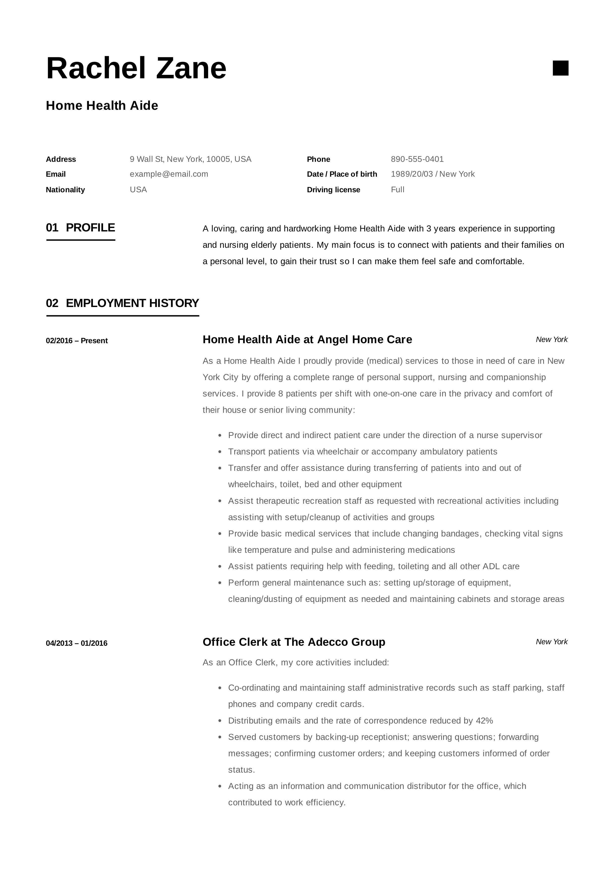 Home health aide resume template design tips examples