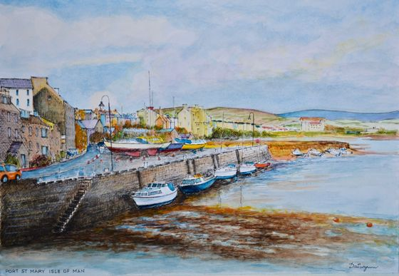 In the late afternoon, the harbour wall is in shadow at Port St Mary on the Isle of Man in the Irish Sea. The ebb tide has left pleasure boats at anchor on the seaweed covered sands. Ink and watercolours on 300gsm smooth Arches paper. 29.5 cm high by 42 cm wide by 0.1 cm deep approximately.  Available for sale at $252 + shipping/postage.