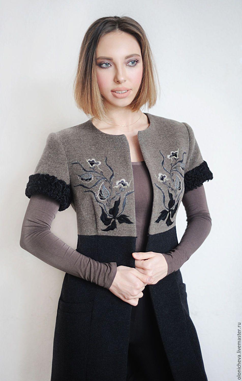 """Купить Вышитое шерстяное пальто """"Черная орхидея"""" - серый, рисунок, пальто с вышивкой, Жилет женский"""