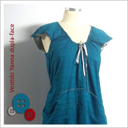 Vestido Yanna (Estampado de Pescador e Verde) - Café Costura de R$174 por R$120