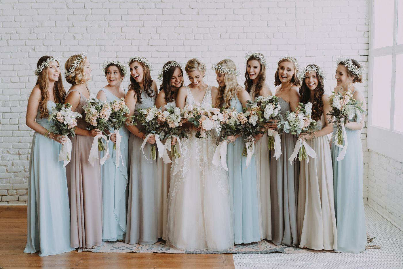 Katie Collin S Wedding One Eleven East Urban Venue Multicolor Bridesmaids Dresses Bhldn