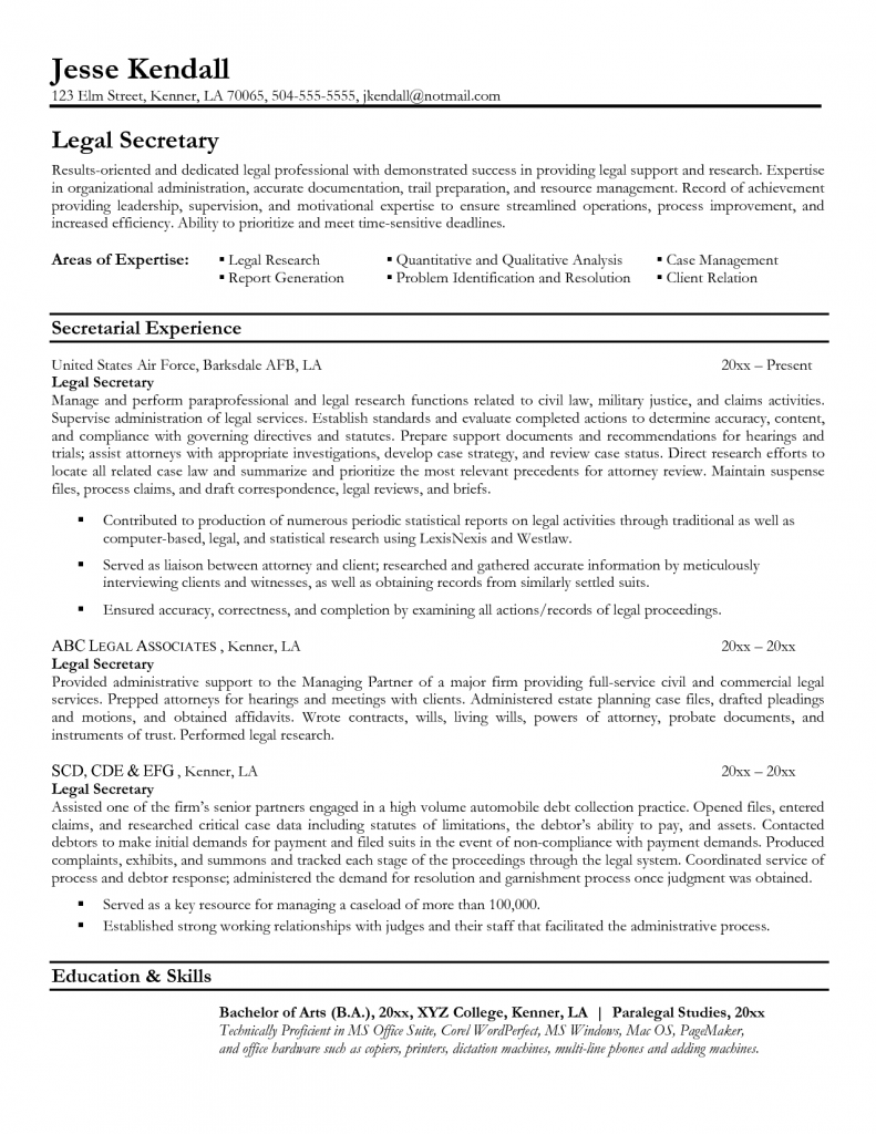 Secretary Resume Example For Legal Secretary Resume Example By