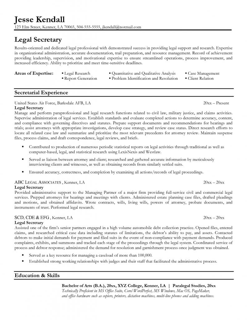 Secretary Resume Example For Legal Secretary Resume