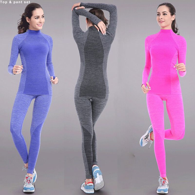 014a7b7f930c6 Binand New Women s Yoga Sets Fitness Sportswear Suits Long Sleeve ...