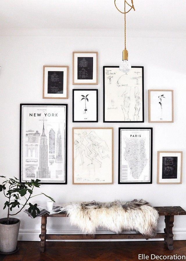un mur de cadres plus de photos pour trouver l 39 inspiration sur le blog. Black Bedroom Furniture Sets. Home Design Ideas