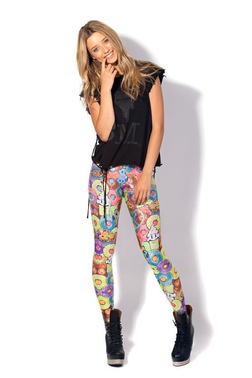 Donut Neon Leggings by Black Milk Clothing