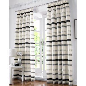Modern Funky Silver Black Cream Striped Voile Pencil Pleat Lined Curtains Drapes 44 X 90 Lined Curtains Curtains Striped Curtains