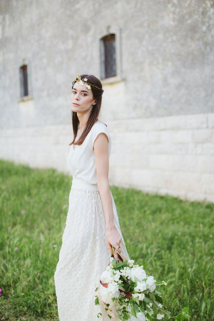 vestidos boda civil, propuesta en estilo boho, vestido simple con ...