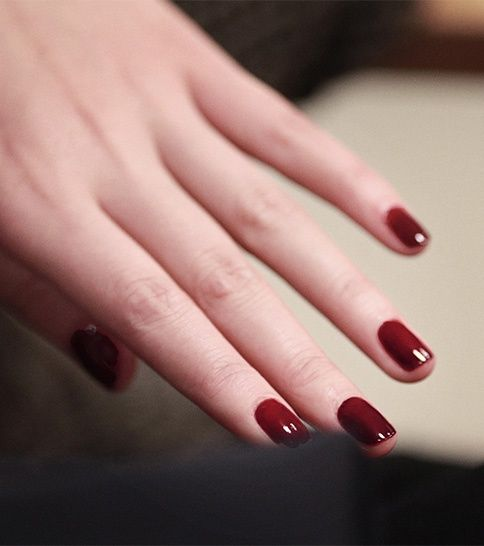 Minimal + Classic: Oxblood nails backstage at the Burberry Prorsum Autumn/Winter 2013 show