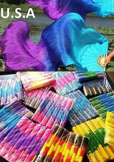 Silk Fan Veils Belly Dance 100/% Silk Quick Ship USA Store       FREE CASE