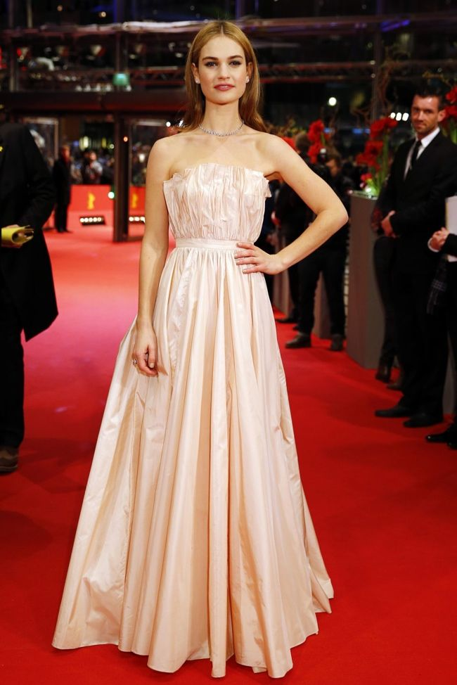 Attending The Berlin Film Festival Premiere Of Cinderella On February 13th Actress Lily James Looked Perfectly Princess Like In A Pink Dress From Dior