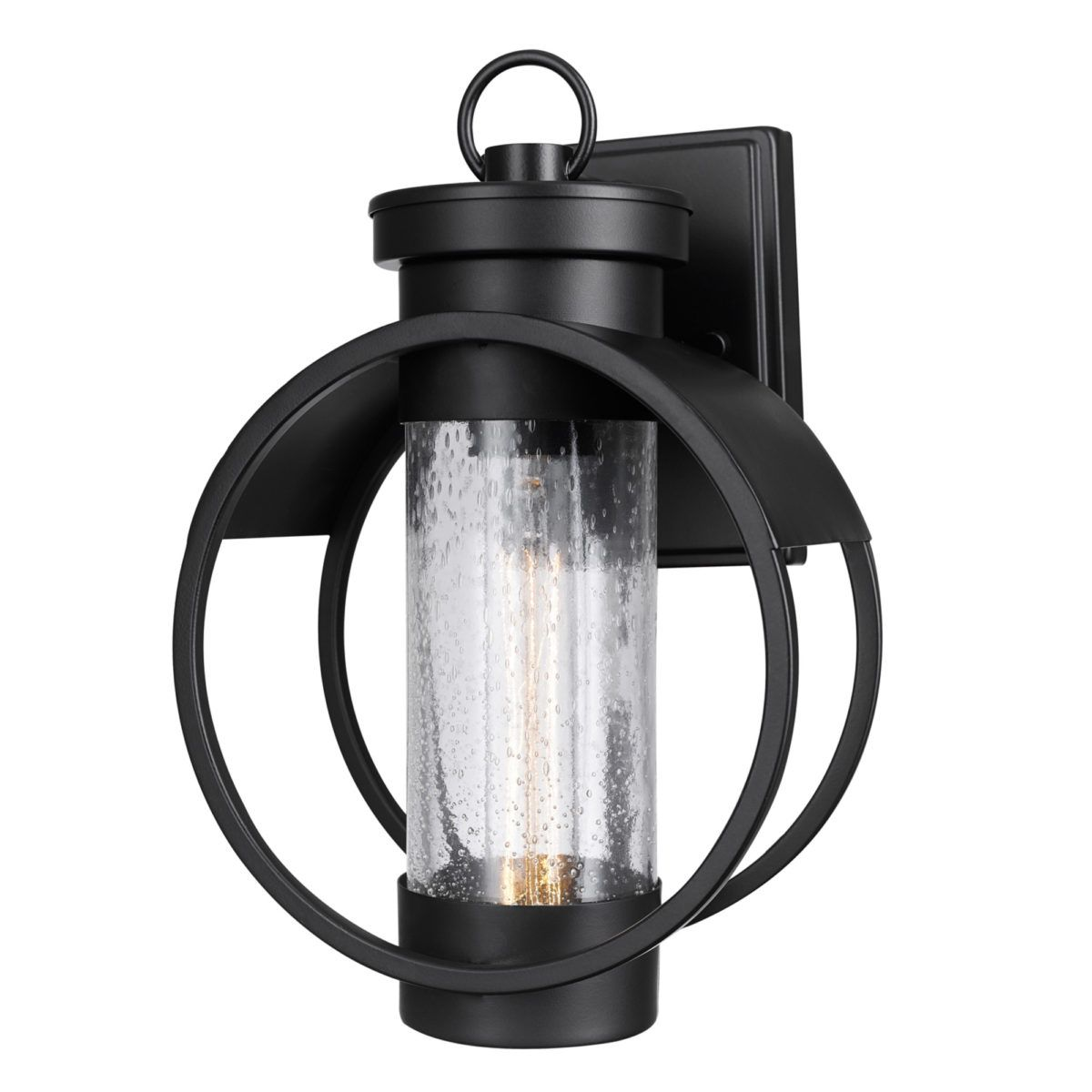 Outdoor wall sconce matte black finish with seeded glass shade