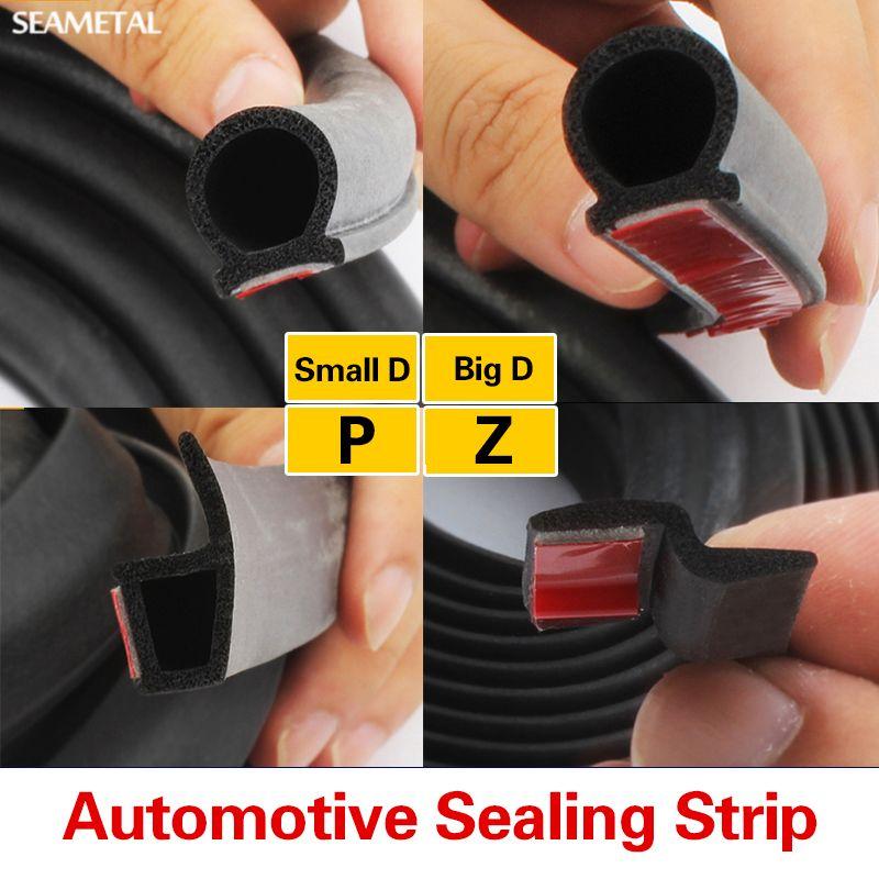 2 메터 자동차 도어 씰 스트립 고무 큰 D + 작은 D Z P 형 방수 트림 사운드 절연 소음 교정 장식 자동 액세서리