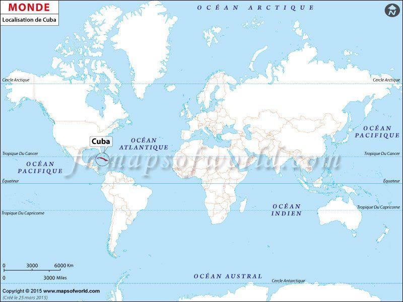 Carte Cuba Monde.Localisation De Cuba Sur La Carte Du Monde Pays Carte De