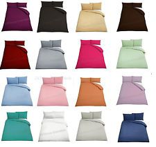 Plain Duvet Cover With Pillowscases Quilt Bed Set Single Double King S K