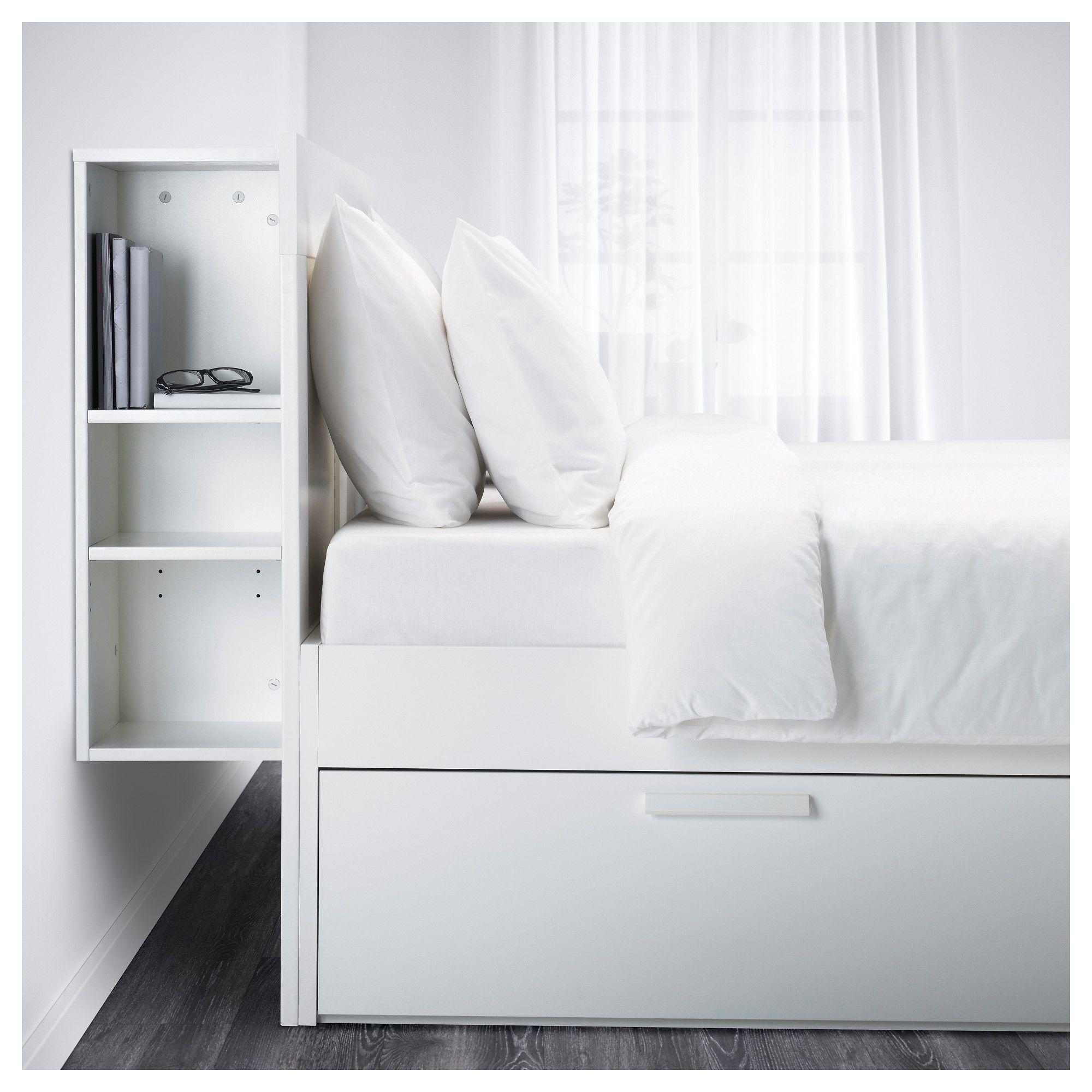 Brimnes Bed Frame W Storage And Headboard White Leirsund Standard Double Ikea