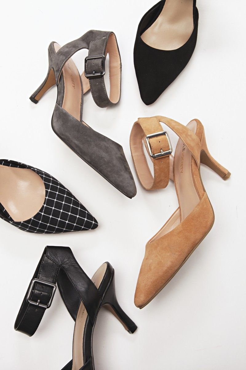 de3c5f2f1d5c Pointed Toe D orsay Heels. Pointed toe d orsay mid heel in genuine suede  with adjustable ankle strap and buckle