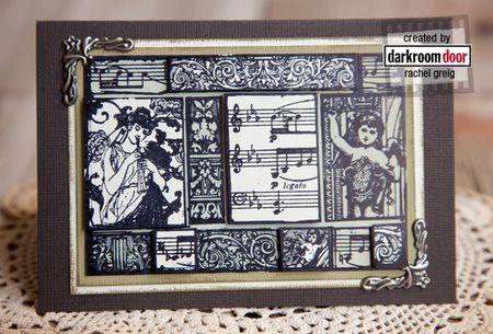 Card by Rachel Greig using Darkroom Door 'Music' Collage Stamp