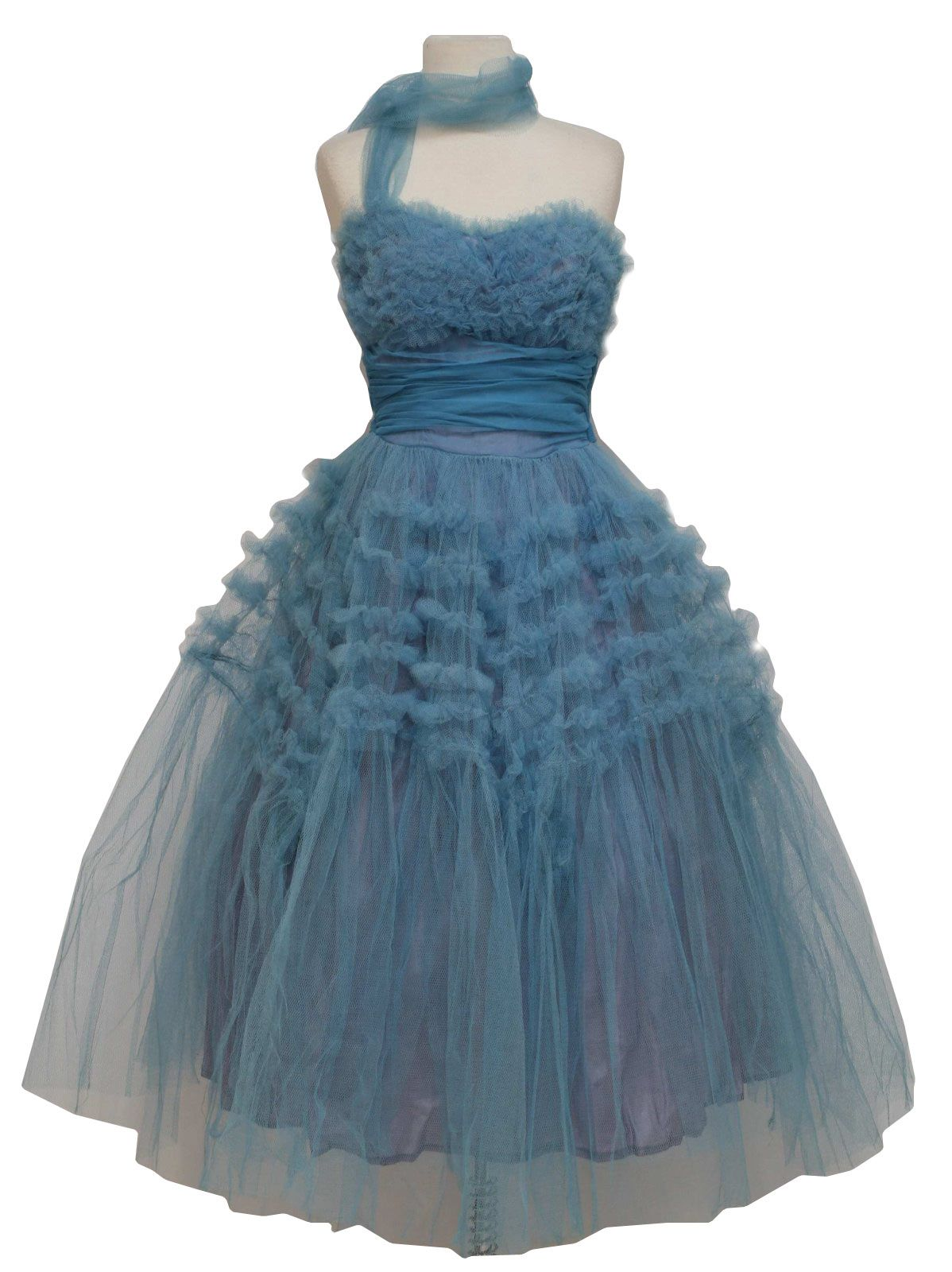 50s -Missing Label- Womens blue crinoline deep raised pinch pleated ...