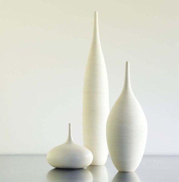 3 Large White Modern Ceramic Bottle Vases In Etsy