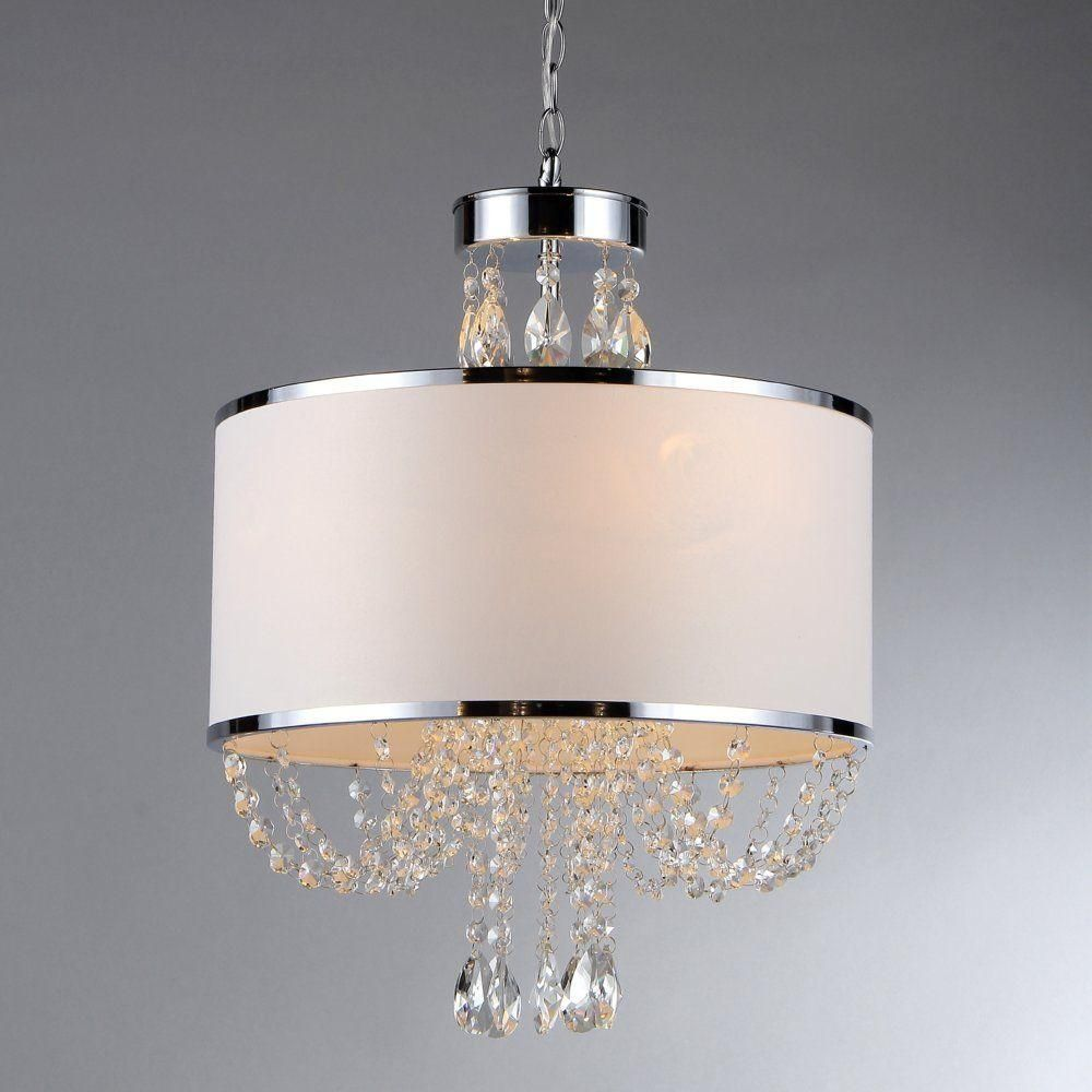 Warehouse Of Tiffany Hera 4 Light Crystal Chandelier With White Shade Rl79384 The