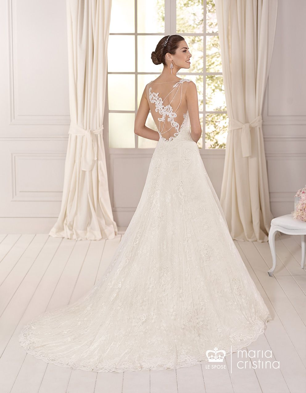 Wedding dress back  Aline tulle gown Embroidered lace applications Heart neckline top