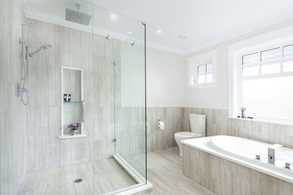 White Gray Ensuite Bathroom Interior Design Of A Home In