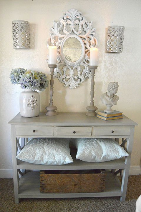 Chalk Paint Makeover For The Entry Table Burlap Bow Decor