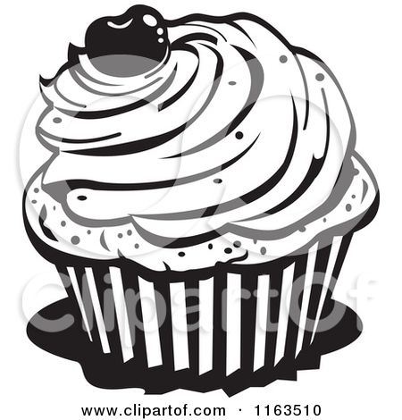 Clipart Of A Black And White Cupcake With A Cherry On Top Royalty Free Vector Illustration By Andy Clipart Black And White Black And White Cupcakes Clip Art