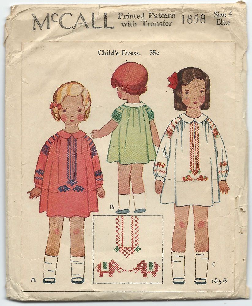 1930s Vintage Sewing Pattern McCall 1858 Childs One Piece Dress ...