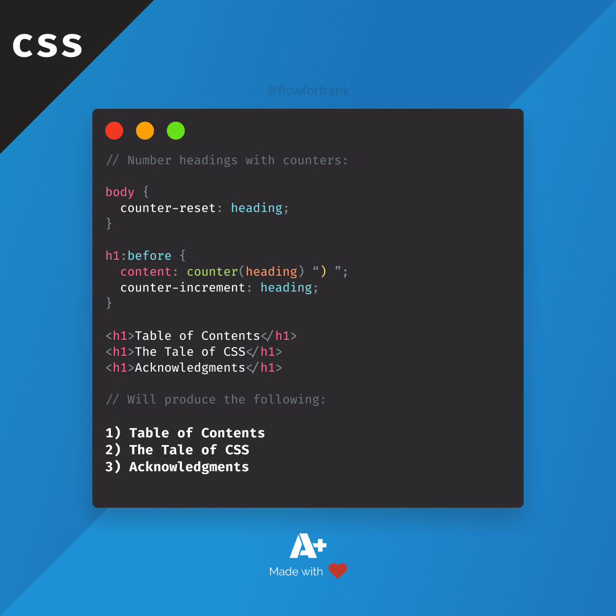 How To Number Headings Using Css In 2020 Typography Rules Css Improve Yourself