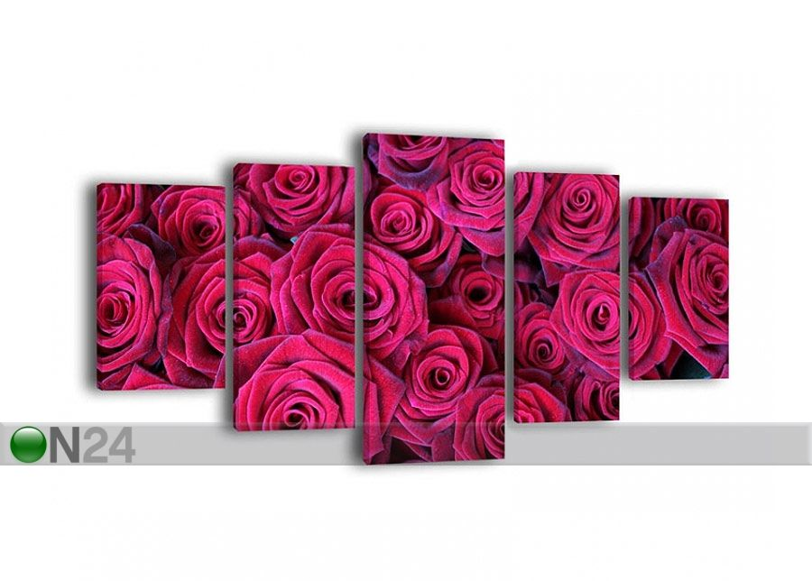 Viisiosainen paneeli seinätaulu RED ROSES 210x100 cm ED-65318 - ON24 Sisustustavaratalo