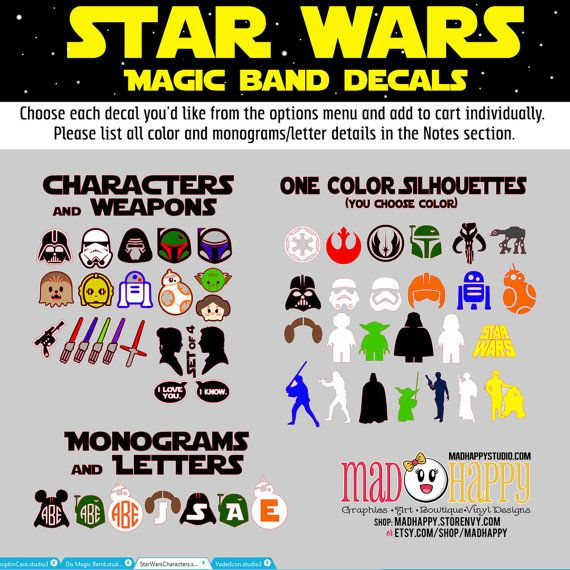 Star wars inspired magic band decals by madhappy on etsy