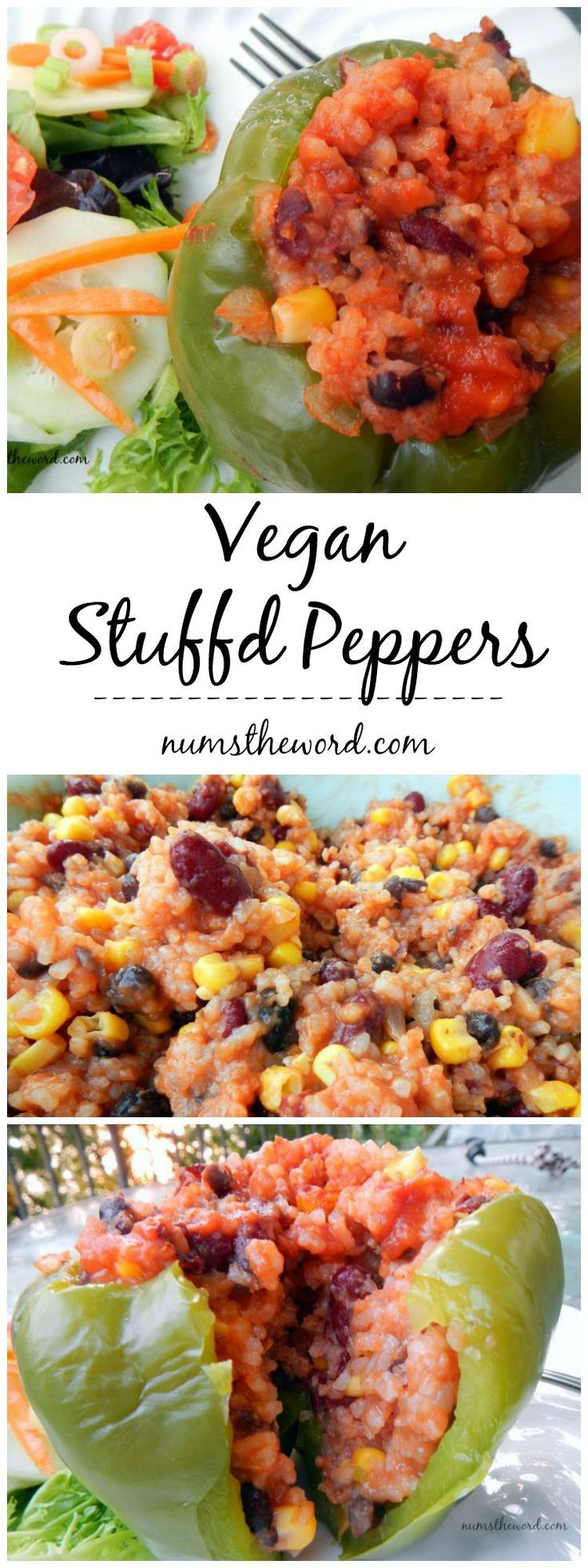 These Vegan Stuffed Peppers are easy to make and taste great! The filling can be used in peppers or as a burrito or taco filling. Easy and delicious!  Vegan & Vegetarian Approved!