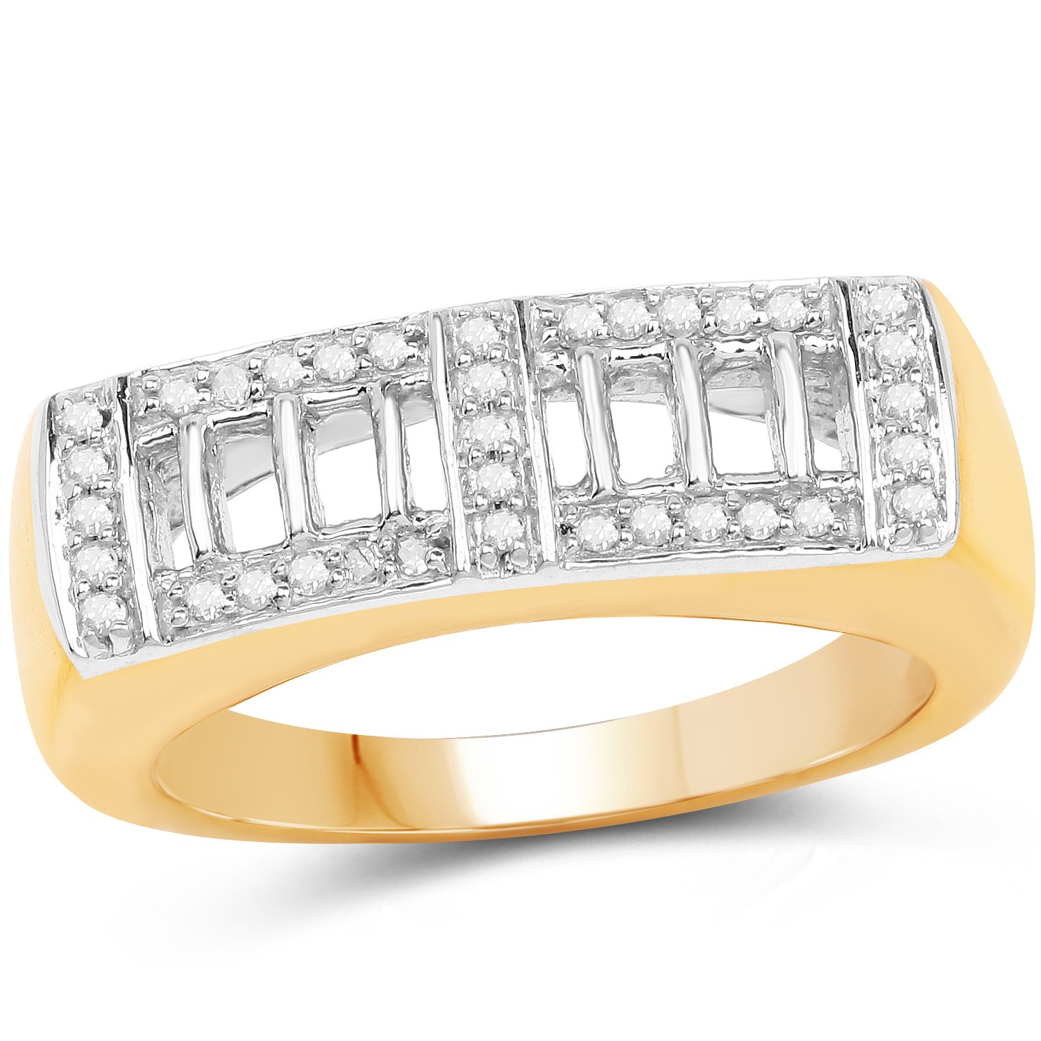 f579da01b8926 925 Sterling Silver & 14K Yellow Gold Plated Genuine White Diamond ...