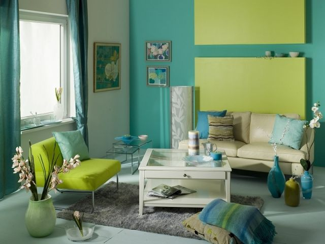 ideen wohnzimmer streichen grün aqua beige möbel | Wandgestaltung ...
