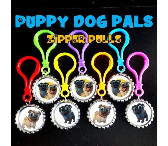 Puppy Dog pals, Bottle Cap Color Plastic Zipper Pulls .Key ...
