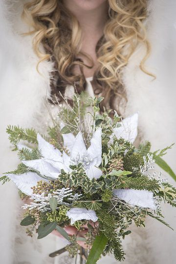 Photo from COLDSTREAM FARM WINTER STYLED SHOOT collection by Brad Quarrington Photography Florals: Petals In Thyme Dress and Cape: Exchanging Vows Bridal Boutique