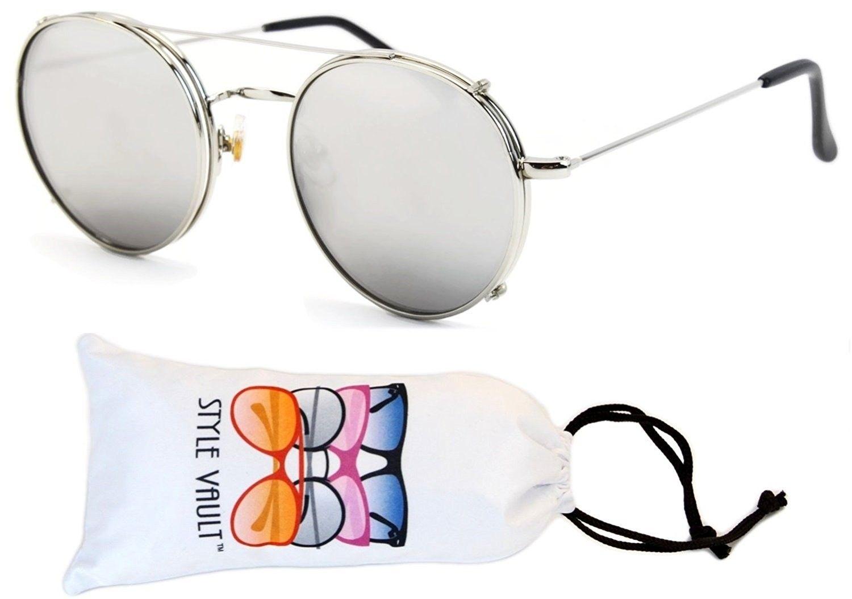 cd4f0bfb2e7 V3091-vp Clip on detachable lens Metal Round Sunglasses - T2540h Silver- silver Mirror - CP12EMD49L3 - Women s Sunglasses